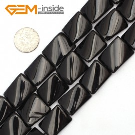 "G9492 Black/Agate 15x20mm Twist Rectangle Jewelry Making Gemstone Loose Beads 15"" 12 Materials Natural Stone Beads for Jewelry Making Wholesale"