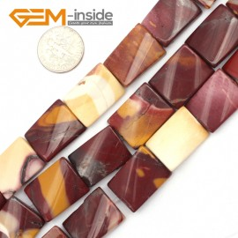 "G9493 Red&Yellow/Mookaite Jasper 15x20mm Twist Rectangle Jewelry Making Gemstone Loose Beads 15"" 12 Materials Natural Stone Beads for Jewelry Making Wholesale"