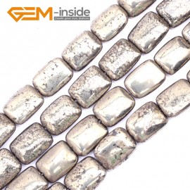 "G9531 12x16mm (Rectangle Cambered ) Freeform Gemstone Pyrite DIY Crafts Making Loose Beads Strand 15"" Natural Stone Beads for Jewelry Making Wholesale"