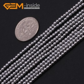 "G9537 2mm Round Smooth Sliver Gemstone Hematite DIY Crafts Making Loose Beads15"" 2-12mm Pick Natural Stone Beads for Jewelry Making Wholesale"