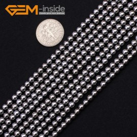 "G9539 4mm Round Smooth Sliver Gemstone Hematite DIY Crafts Making Loose Beads15"" 2-12mm Natural Stone Beads for Jewelry Making Wholesale"