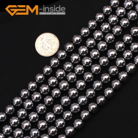 """G9541 8mm Round Smooth Sliver Gemstone Hematite DIY Crafts Making Loose Beads15"""" 2-12mm Pick Natural Stone Beads for Jewelry Making Wholesale"""