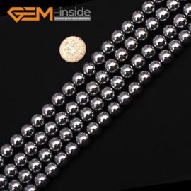 "G9542 10mm Round Smooth Sliver Gemstone Hematite DIY Crafts Making Loose Beads15"" 2-12mm Pick Natural Stone Beads for Jewelry Making Wholesale"