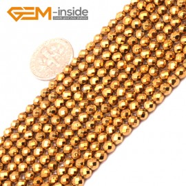 """G9567 4mm Round Faceted Gold Gemstone Hematite DIY Crafts Making Loose Beads15""""2-12mm Pick Natural Stone Beads for Jewelry Making Wholesale"""