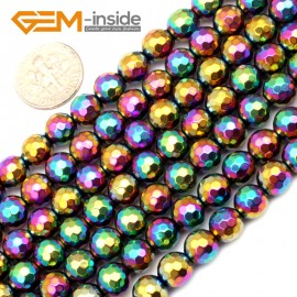 """G9576 8mm Round Faceted Multicolor Gemstone Hematite Jewelry Making Beads 15""""  2-12mm Pick Natural Stone Beads for Jewelry Making Wholesale"""