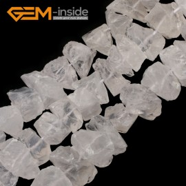 "G9587 White Rock Quartz (Faceted) 8-18mm Natural Freeform DIY Jewelry Making Gemstone Loose Beads15""  3 Materials Natural Stone Beads for Jewelry Making Wholesale`"