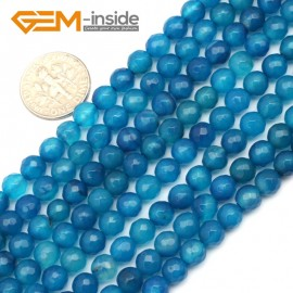 """G9601 6mm Round Faceted Gemstone Dark Blue Agate Jewelry Making Loose Beads Strand 15"""" Natural Stone Beads for Jewelry Making Wholesale"""