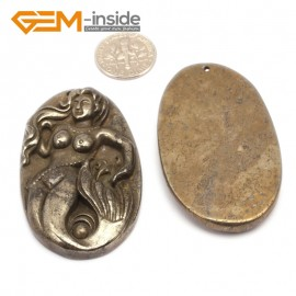 G9602 Mermaid/33-55mm Natural Carved Silver Gray Pyrite Gemstone Jewelry Pendant Loose Beads 1 Pcs Pendants Fashion Jewelry Jewellery