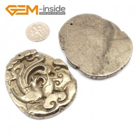G9613 Unicorn/43-55mm Natural Carved Silver Gray Pyrite Gemstone Jewelry Pendant Loose Beads 1 Pcs Pendants Fashion Jewelry Jewellery
