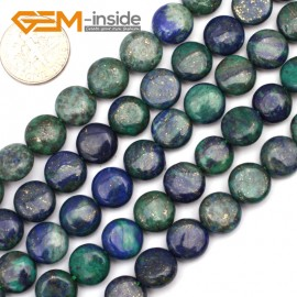 "G9616 10mm Coin Gemstone Lapis Lazuli Malachite Jewelry Making Beads Strand 15"" 8 10 12mm Natural Stone Beads for Jewelry Making Wholesale`"