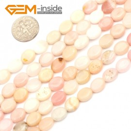 "G9622 8x10mm Oval Natural Smooth Gemstone Pink Opal DIY Jewelry Making Loose Beads 15"" Natural Stone Beads for Jewelry Making Wholesale"