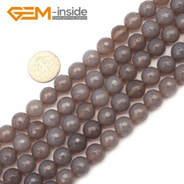 """G9636 10mm Round Faceted Natural Gray Agate Gemstone Loose Beads Strands 15"""" 10-14mm Pick Natural Stone Beads for Jewelry Making Wholesale"""