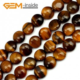 """G9718 12mm Coin Gemstone Yellow Tiger Eye Stone Beads Strand 15""""DIY Jewelry Making Beads Natural Stone Beads for Jewelry Making Wholesale"""