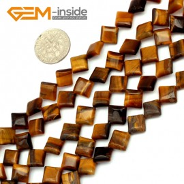 G9723 8mm (Diagonal) Gemstone Yellow Tiger Eye Jewelry Making Beads Strand 15 Gbeads Natural Stone Beads for Jewelry Making Wholesale