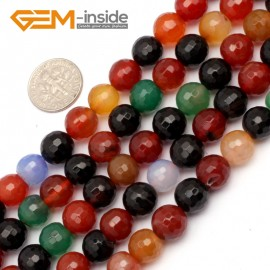 "G9730 10mm Round Faceted Gemstone Mixed Color Agate Jewelry Making Loose Beads Strand 15"" Natural Stone Beads for Jewelry Making Wholesale"