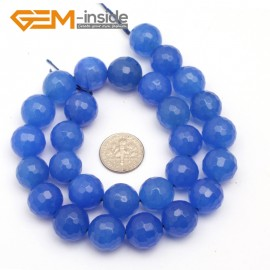 "G9732 14mm(light Blue) Round Faceted Dark Blue Jade Gemstone Loose Bead Strand 15"" 10 12 14MM Pick Natural Stone Beads for Jewelry Making Wholesale"