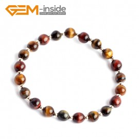 G9883 6mm(With Spacer Beads) Handmade Natural Round Mixed  Tiger' Eye Beads Stretchy  Bracelet 7 1/2? GBeads Fashion Jewelry Jewellery Bracelets  for women