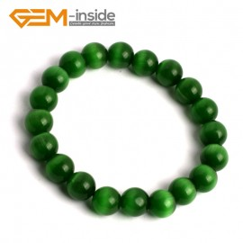 G9989 Dark Green 10mm Handmade Multicolor Round Cat Eye's Beads Stretchy Bracelet Pick Fashion Jewelry Jewellery Bracelets  for women