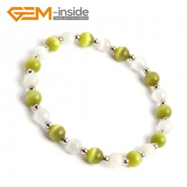 G9994 Yellow Green&White 6mm Handmade Multicolor Round Cat Eye's Beads Stretchy Bracelet Pick Fashion Jewelry Jewellery Bracelets  for women
